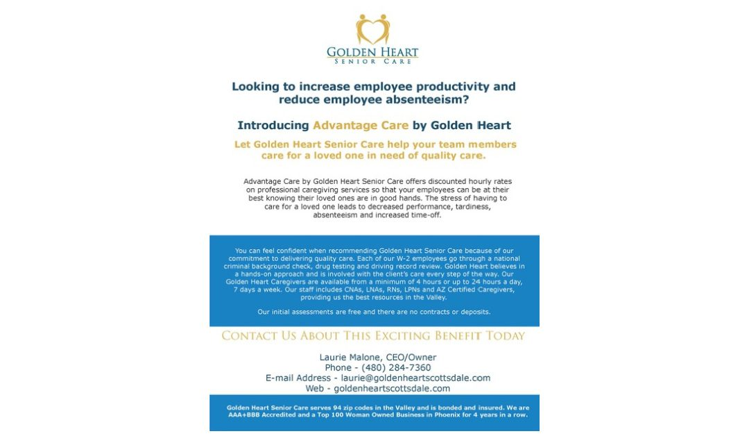 GOLDEN HEART ANNOUNCES ADVANTAGE CARE for EMPLOYERS!